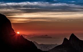 Картинка небо, солнце, облака, город, панорама, Рио-де-Жанейро, Rio de Janeiro