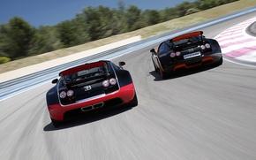 Картинка Roadster, Бугатти, Bugatti, Вейрон, Veyron, суперкар, вид сзади, гоночный трек, and, Grand Sport, Vitesse, WRC ...