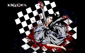 Картинка тьма, безумие, Blood+, шахматная доска, diva, брызги крови, лужа крови, art Hayashi Nomura, broken rose
