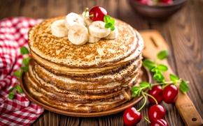 Обои banana, блины, выпечка, pancakes, джем, бананы