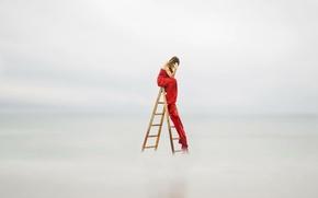 Картинка девушка, фон, лестница