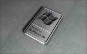 Обои металл, логотип, windows xp