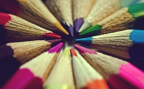 Картинка цвета, макро, фон, widescreen, обои, настроения, цветные, карандаши, wallpaper, разноцветные, широкоформатные, background, полноэкранные, HD wallpapers, ...