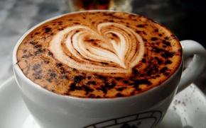 Обои Макро, Рисунок, Сердце, Кофе, Чашка, Каппучино