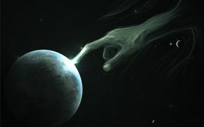 Картинка космос, темнота, планета, рука