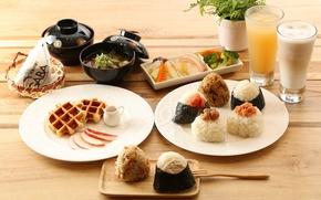 Обои рис, овощи, завтрак, роллы, напитки, суп, вафли