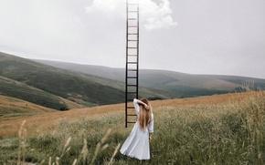 Обои девушка, лестница, небо
