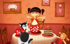 Картинка кошки, стол, чай, рисунок, кукла, пирог, девочка, картины, сладости, торт