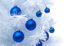 Картинка шарики, шары, игрушки, елка, Новый Год, Рождество, белая, Christmas, синие, New Year, елочные