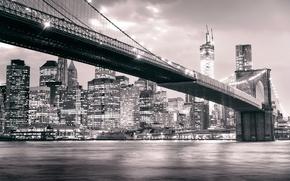 Картинка Manhattan, черно-белое, небоскребы, Бруклинский мост, NYC, город, огни, ночь, Brooklyn, здания, река, Brooklyn Bridge, New ...