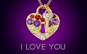 Картинка golden, love, i love you, heart, glamour, key, brilliant, diamonds, lock, design by Marika