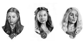 Картинка рисунок, карандаш, гербы, Game of Thrones, Daenerys Targaryen, портреты, Sansa Stark, Margaery Tyrell