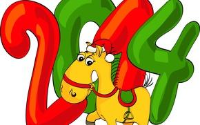 Картинка новый год, цифры, седло, колпак, лошадка, 2014