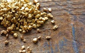 Обои gold, metal, wood, gold nuggets