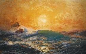 Картинка море, волны, пена, солнце, закат, ветер, корабль, michael zeno diemer