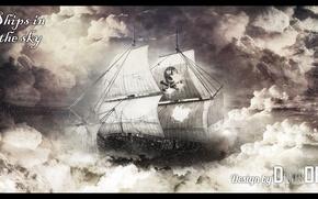 Картинка небо, корабль, sky, the, photoshop, ships, denisoff