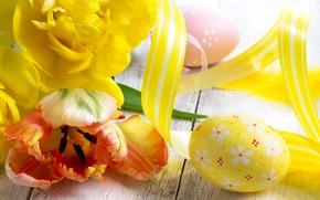 Картинка фото, Цветы, Желтый, Тюльпаны, Пасха, Яйца, Праздники