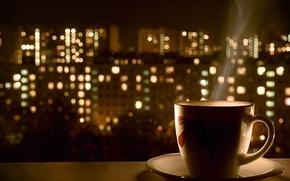 Картинка ночь, огни, кофе, горячий, кружка
