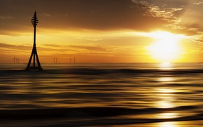 Картинка море, закат, стиль
