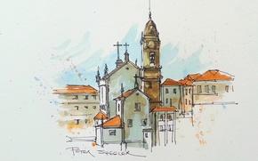 Обои картина, рисунок, городской пейзаж, колокольня, акварель, дома