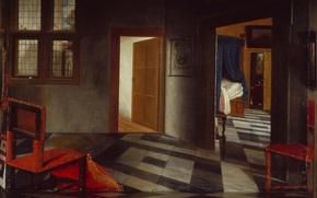 Картинка стул, дверь, Самюэл ван Хогстратен, Интерьер Голландского Дома, интерьер, картина, комната