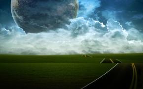 Обои дорога, облака, холмы, планета