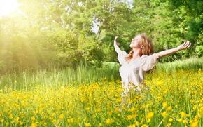 Картинка girl, nature, freedom, enjoying, outdoors, sammer