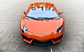 Картинка оранжевый, отражение, брусчатка, lamborghini, передок, orange, aventador, lp700-4, ламборгини, авентадор