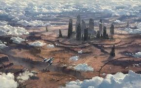 Обои космический корабль, развалины, поверхность, полет, облака, планета, город