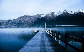 Картинка горы, озеро, пирс, nature, mountains, lake, pier