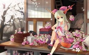 Картинка девушка, дом, арбуз, сакура, демон, рога, touhou, ibuki suika