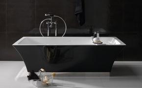 Картинка белый, дизайн, черный, интерьер, ванна, ванная комната