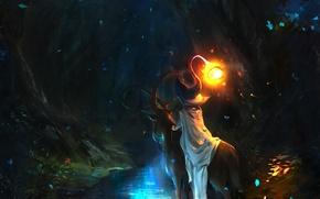 Картинка лес, свет, ночь, река, животное, шляпа, существо, лепестки, чаща, арт, рога, маг, колдун
