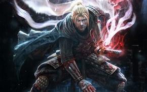 Картинка взгляд, дождь, магия, кровь, дух, меч, катана, воин, броня, Самурай, ниндзя, шрам, стойка, Team Ninja, …