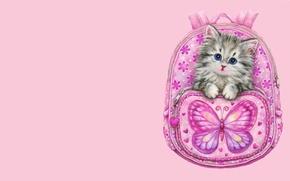 Картинка арт, котёнок, рюкзак, детская