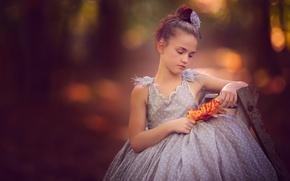 Картинка листья, настроение, платье, девочка, боке