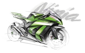 Картинка Скетч, kawasaki, ninja, zx-10r, мотоцикл