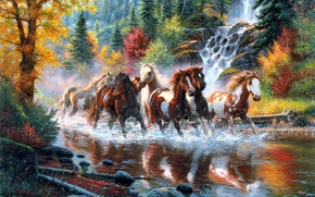 Картинка осень, лес, деревья, река, водопад, кони, лошади, арт, табун, Mark Keathley