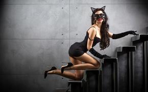 Картинка девушка, поза, фигура, платье, брюнетка, маска, лестница, туфли, перчатки, ступеньки, в черном, женщина-кошка, Catwoman