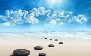 Картинка rocks, небо, Spa, природа, sea, море, sky, пейзаж, спа, nature, камни, landscape