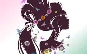 Картинка девушка, бабочки, цветы, лицо, ресницы, фон, волосы, силуэт, профиль