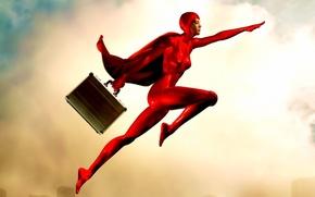 Обои красный, чемодан, Герой
