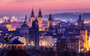 Обои закат, город, дома, Чехия, Прага, вечер, огни