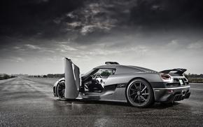 Обои дождь, Koenigsegg, supercar, Agera, track, кёнигсег