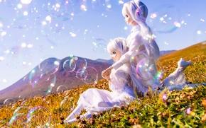 Картинка лето, солнце, девушки, настроение, куклы, луг, мыльные пузыри