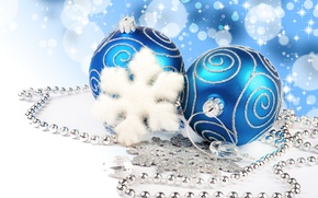 Картинка Merry christmas, new year , blue balls, decoration, bokeh, lights, necklace, jewelry, diamonds