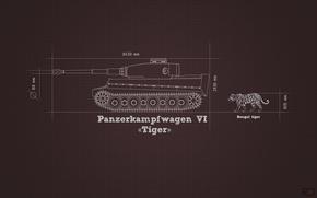 Картинка информация, тигр, минимализм, танк, Tiger, тяжелый, немецкий, сравнение