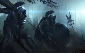 Обои оружие, войны, арт, орудия, доспехи, копья, мечи, ночь, тьма, лес