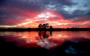 Обои деревья, берег, водоём, вечер, лес, река, пейзаж, закат
