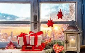 Картинка украшения, окно, фонарь, подарки, декорация